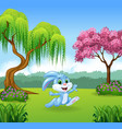 Cartoon of beautiful forest background vector image vector image