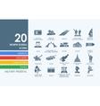 Set of North Korea icons vector image