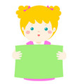 cute girl holding blank banner vector image