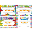 diploma template with four different backgrounds vector image