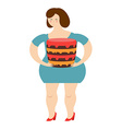 Fat cheerful woman and cake Joy of eating Large vector image