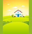 house in the fields vector image