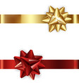 set of decorative golden and red bows with vector image