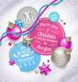 Cardboard labels with Christmas greeting and vector image vector image