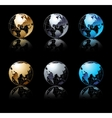 Set of silver gold and blue globe in black vector image