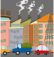 Cars on road and many buildings vector image vector image