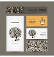 Business cards design with book tree vector image