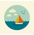 Boat with a Sail icon Marine Sea vector image