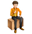 A man sitting down vector image