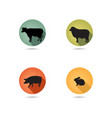 farm animals set silhouette livestock icons vector image