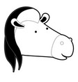 horse cartoon head in black silhouette with thick vector image