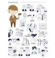 Interpreter linguist teacher tutor Doodle style vector image