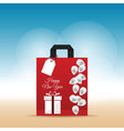 paper bag red with happy new year 2017 and vector image
