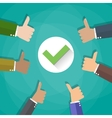 Six cartoon Businessmans hands hold thumbs up vector image