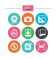 Photo video icons Camera photos and frame vector image