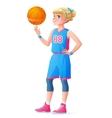 cute little basketball player girl spinning vector image