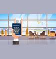 hand holding passport ticket boarding pass travel vector image