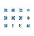 Processor unit duotone icons on white background vector image