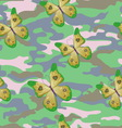 Butterfly on the military background pattern vector image