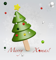 Green christmas ice cream postcard vector
