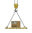 crane lifts a box with cargo vector image