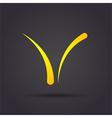 V letter curved sign vector image