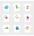 Set of nine t-shirts with cartoon cute monsters vector image