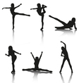 Set of Aerobic Silhouettes vector image vector image