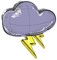 Cloud with lightnings weather icon vector image