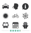 transport icons taxi car bicycle bus and ship vector image