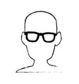 silhouette man head wear glasses vector image