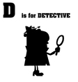 Detective cartoon with silhouette vector image