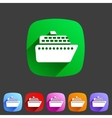 ship ferry boat flat icon badge set vector image