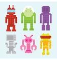Pixel art robots isolated set vector image