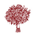 bouquet of roses greeting card hand drawn vector image