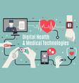 digital healthcare technology flat poster vector image
