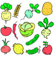 doodle of vegetable various set design cartoon vector image