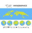 green and blue cartoon world map globe and pins vector image