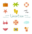Icons vacation in a flat minimalist style vector image
