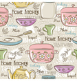 Seamless Patterns with different tableware vector image