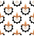 Wheat stalk and gear wheel seamless pattern vector image