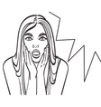 Pop art surprised blond woman face with open mouth vector image vector image
