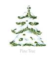 Watercolor snow christmas tree vector image