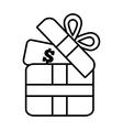 gift box money dollar wrap ribbon line vector image