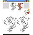 drawing and coloring worksheet with monkey vector image vector image