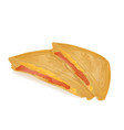 cheese sandwich with ham grilled and cut in half vector image