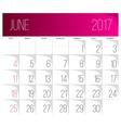 June 2017 calendar template vector image