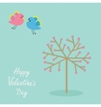 Love tree with hearts and bird Flat design Happy vector image