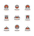 mono line mountain icon set vector image