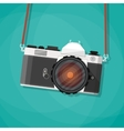 Old vintage photo camera with strap vector image